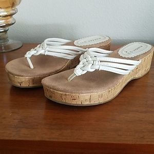 Madden Girl white leather cork slide sandals